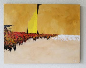Yellow Abstract Acrylic Seascape Painting