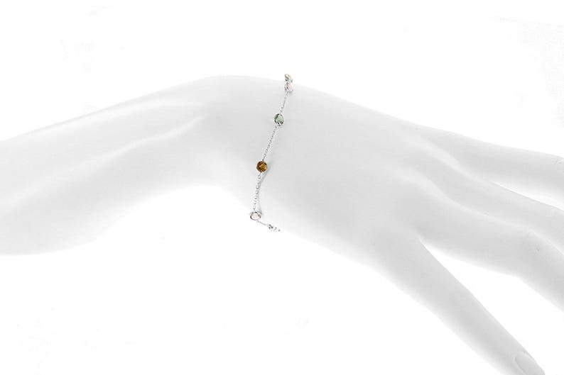 14k Yellow Gold Handmade Station Bracelet With Round 4mm Tourmaline Gemstones By the Yard