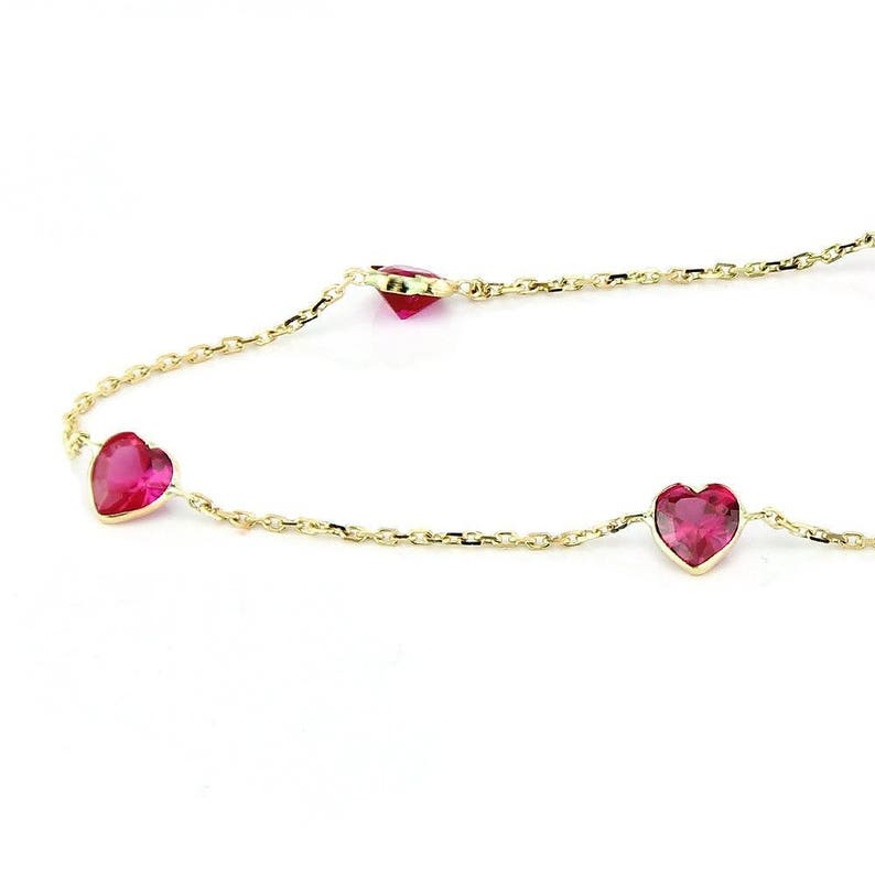 14k Yellow Gold Anklet With 5 MM Ruby Red Heart Shaped Cubic Zirconia By the Yard 9-11 inches