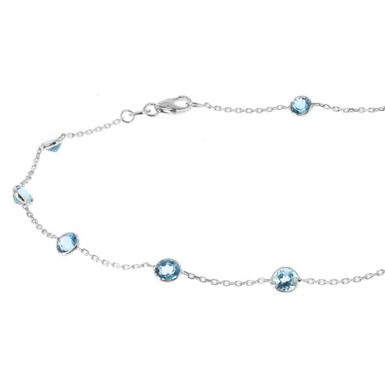 14k White Gold Handmade Station Ankle Bracelet With Round Blue Topaz Gemstones By the Yard