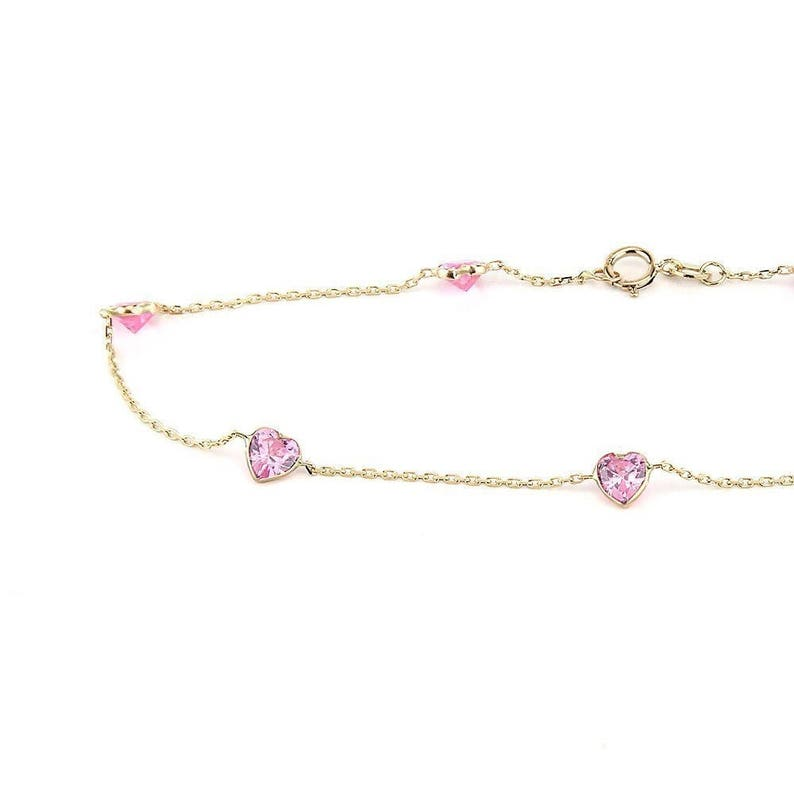 14k Yellow Gold Anklet With 5 MM Pink Heart Shaped Cubic Zirconia By the Yard 9-11 inches