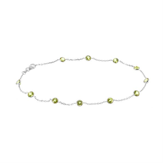 14K Yellow Gold Station Ankle Bracelet With Gemstones By The Yard 10.5 Inches