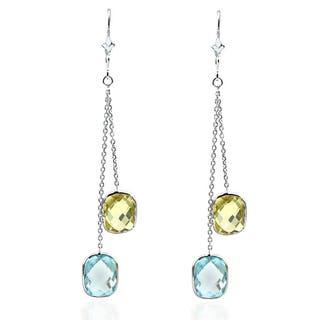 14k White Gold Chandelier Gemstone Earrings with Cushion Cut Blue Topaz And Lemon Quartz