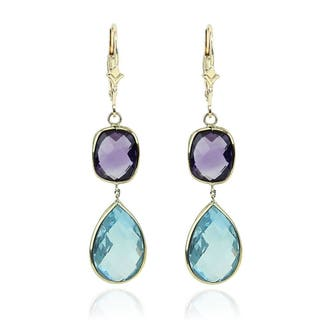 14K Yellow Gold Gemstone Earrings with Amethyst and Blue Topaz Drop