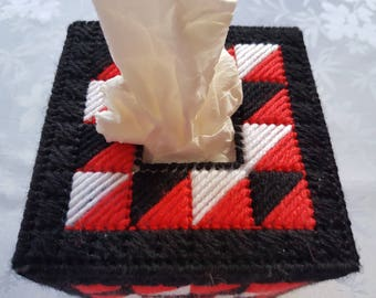 Red, white and black tissue box