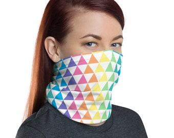 Pastel Rainbow Triangle Pattern Neck Gaiter Luxury Accessory   Face Mask Shield, Headband, Bandana, Neck Warmer