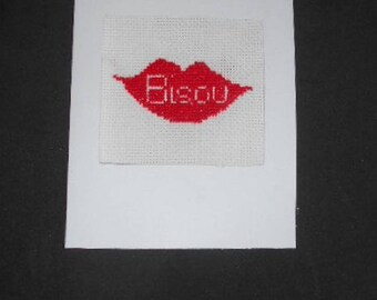 Embroidered on canvas handmade card - Kiss