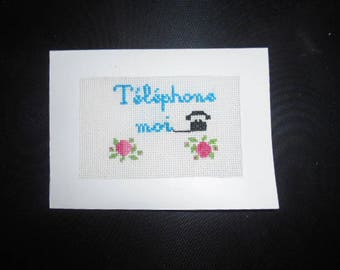 Embroidered hand on canvas - phone me card