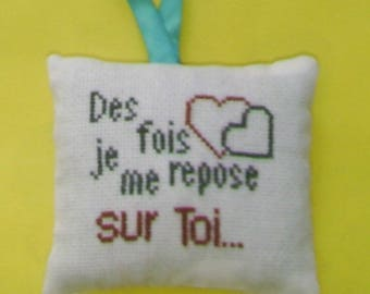 You and me hand - embroidered door pillow