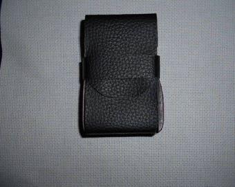 Black faux leather cigarette case