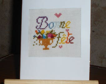 """Hand embroidered card on canvas - """"Happy birthday"""""""