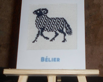 """Embroidered card on canvas sign Zodiac """"Aries"""" Blue Navy"""
