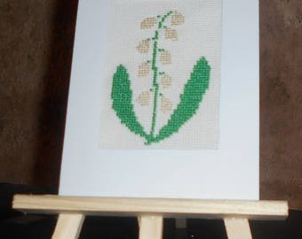 Embroidered card on canvas with a strand of the Valley