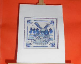 Embroidered card on canvas way Delft earthenware