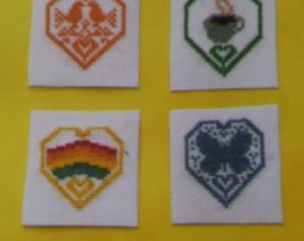 Set of 4 magnets - hearts