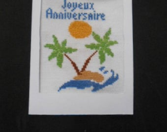 Embroidered on canvas - happy birthday handmade card