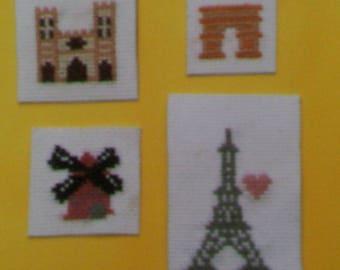 Set of 4 magnets - monuments of Paris