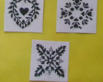 Set of 3 magnets - hand embroidery