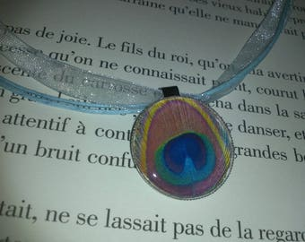 Organza necklace and her Peacock feather pendant
