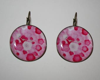 vintage - pink flowers - nature earrings