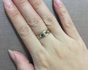 Victorian{Chester 1899} 18ct Solid Gold 5-Stone Ruby + Turquoise Gemstone Ring