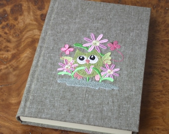 A5 Olive Linen Fabric Owl Embroidered Handmade Notebook