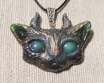 """MatLou Craft """"Emmy"""" glow Horned Kitty pendant"""