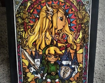 Legend of Zelda Stained Glass window Hand Burned on wood