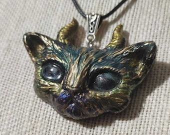 """MatLou Craft """"Cosmo"""" horned Glow kitty pendant"""
