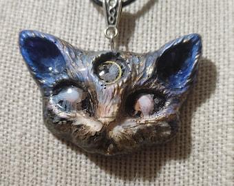 "MatLou Craft ""Starry Night"" Third Eye Kitty fantasy GLOW pendant"