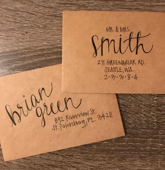 Custom Addressed Envelopes Wedding Invitations Hand Lettered Etsy