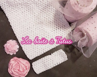 419585e467441 KIT Robe Tutu de Princesse Blanc Rose Poudré pour Petite Fille 2 3 4 5 6  ans, Robe mariage, Cérémonie, Tulle Bustier Crochet Déguisement