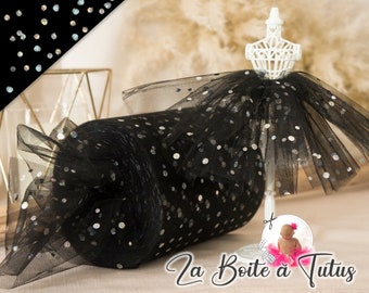 BLACK sequined tulle, sequined soft tulle with bright meter sequin for baby girl tutu dress or decoration