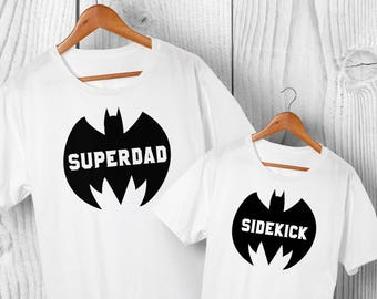 988447ef Super Dad & Sidekick Matching T-shirt Set - Dad and Son or Daughter  Matching Shirts, Father Daughter Matching T-shirts Set, FREE Delivery