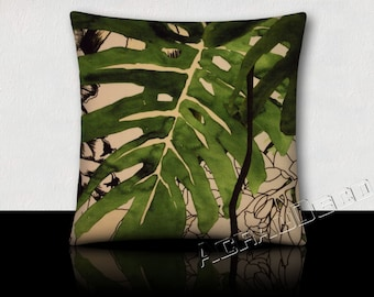 Pillow Design exotic luxurious velvet leaves and flowers/vines forest rain-green moss/green tree/white/black on white background