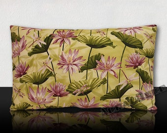 """""""Dragonflies in the middle of lotus blossoms Parade"""" pillow - green/purple/white/gold"""