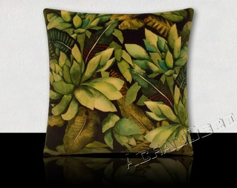 Designer pillow, Velvet/plants tropical pale shades of green-green moss/green tree/green/olive green on Brown background