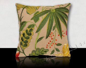 Square cushion DESIGNER embroidered - flowers and tropical foliage - green Emerald/yellow/fuchsia