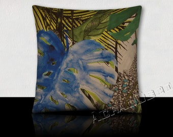Pillow Design luxurious foliage and flowers/vines exotic forest rain-green moss/green Emerald/turquoise/white/black on white background