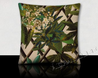 Square cushion plant climbing/trellis-leaves/flowers/feathers green kiwi/brown/yellow/green/moss green imperial/white/on a white background
