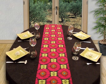 Table runner 32 cm x 178 cm-POP FLORAL fuchsia/green moss/orange/turquoise on a charcoal black background.