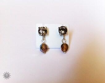 Greige swarovski Silver Earring