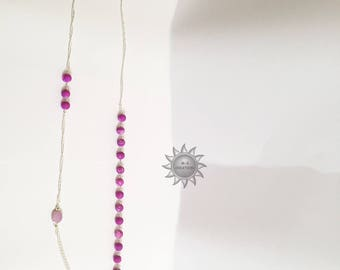 Print and Pearl Necklace asymmetrical purple