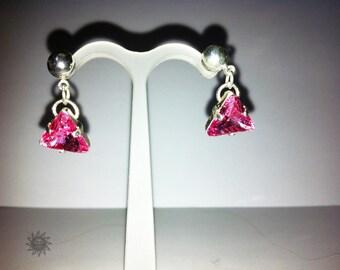 Silver swarovski earrings pink