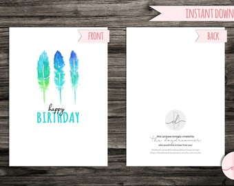Printable Birthday Card Instant Download Happy Blue Green Feather Trio A6 Or A5 Half Fold Blank Inside