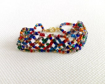 Beaded bracelet, multicolor, adjustable