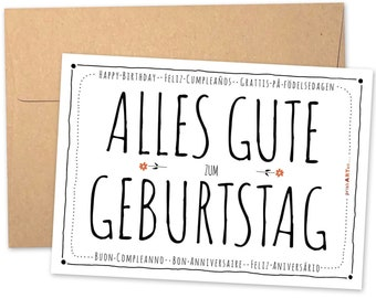 Birthday card TYPO with FLOWERS in different LANGUAGES Happy birthday made of recycled paper optionally with recycling envelope
