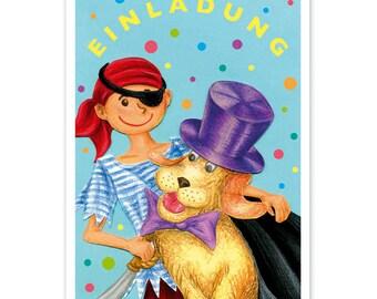 Kindereinladung: Fasching Junge PIRAT MIT HUND Karneval Kostümfest  Kindergeburtstag Geburtstagseinladung Einladung Verkleidungsparty