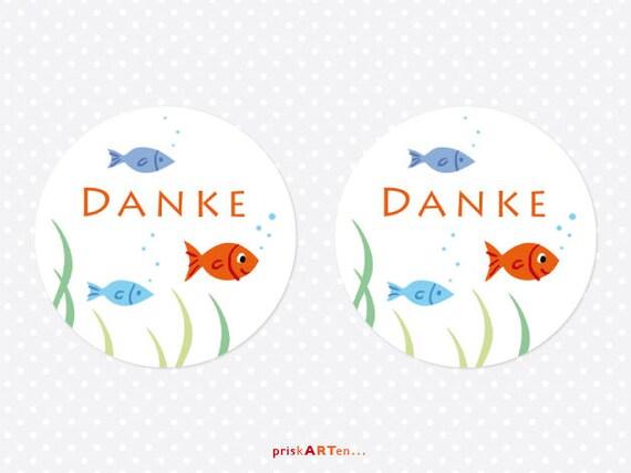 24 Aufkleber Danke Fische Kommunion Erstkommunion Konfirmation Taufe Sticker Etiketten Geschenkaufkleber