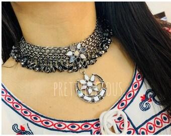 b831918dc Afghani Jewelry Oxidised Choker Ghunghroo Boho Necklace Glass Jewellery  Indian Jewelry Tribal Jewelry German Silver
